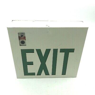 Vintage Electric Lighting Green Exit Arrow Sign Art Deco 11.5x10.5x3.5 7.a5