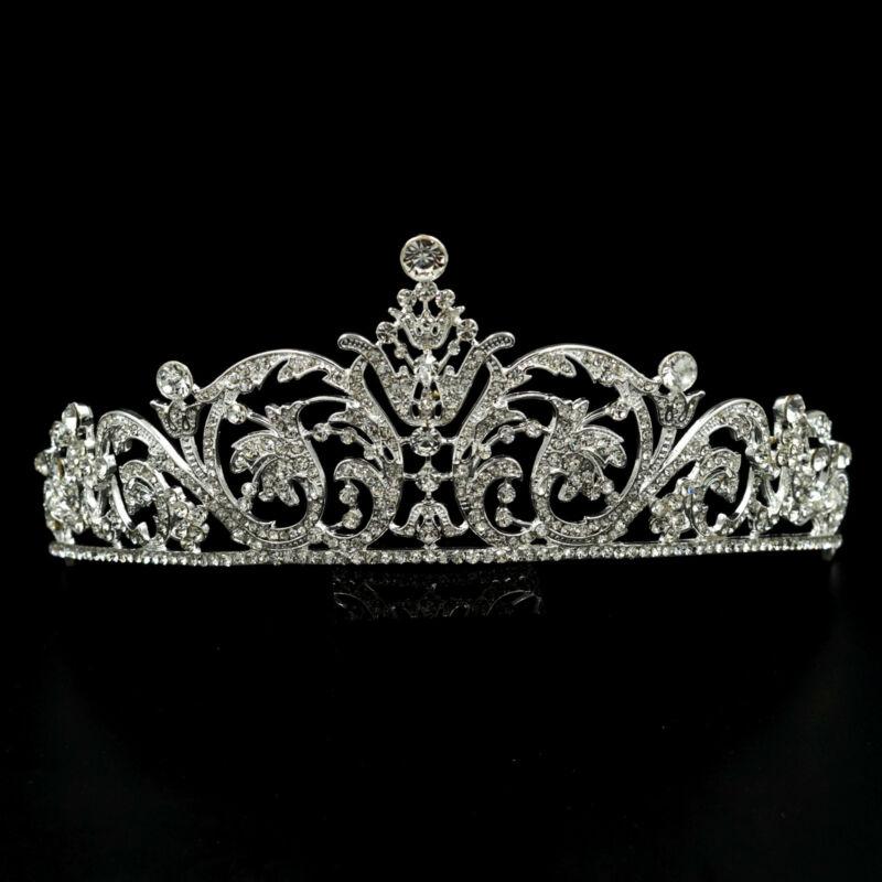 Gorgeous Clear Austrian Crystal Rhinestone Tiara Crown Bridal Party Pageant 5591