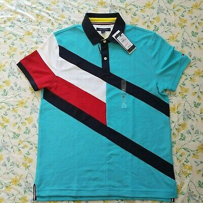 New Mens Tommy Hilfiger Short-Sleeve Polo Shirts Blue/ Multi