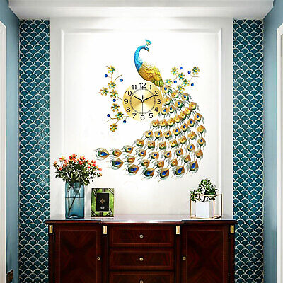 Modern 3D Peacock Shape Wall Clock, Peacock Quiet Atmosphere Wall Clock Decor NEW
