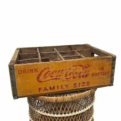 Vintage 1955 Yellow Coca Cola Family Size 12 Bottle Wood Crate Alton Illinois