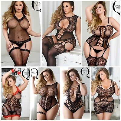 Sexy PLUS SIZE Lingerie Fishnet TEDDY Stockings Bodystocking Pantyhose Bodysuits