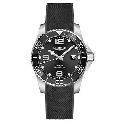 Longines Hydroconquest Ceramic Bezel 41mm Black Steel Rubber Watch L37814569 New