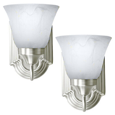 - 2 Pack of Brushed Nickel Wall Sconce Single Light Fixture Interior Lighting