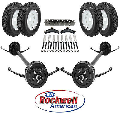 Tandem 3500 Lb Electric Brake Trailer Axle Kit Wwheels Tires - 7k - 9480