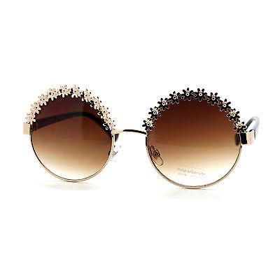 Vintage Flower Top Round Circle Frame Womens Fashion (Sunglasses Vintage Flower)