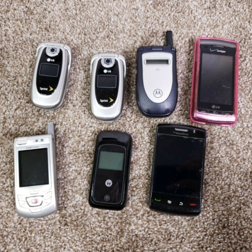 Lot of 7 Flip Phones, Used Cell Phones for Parts and Crafting, Blackberry, LG