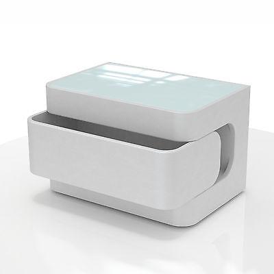 Nachtkonsole Nachttisch Nachtkommode in weiß mit Glas und Schublade