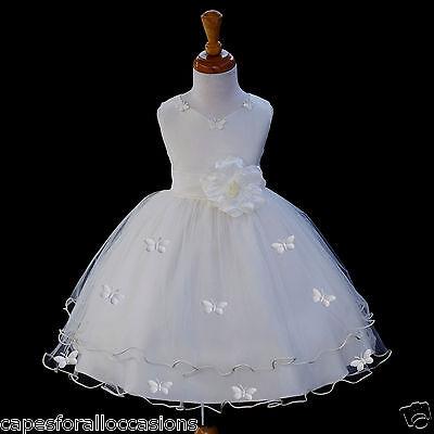 IVORY WEDDING BUTTERFLIES FLOWER GIRL PAGEANT DRESS SM MED 2 2T 3 3T 4 4T 6 8 - 2t Flower Girl Dresses