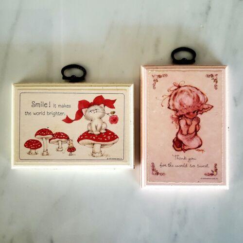 2 Vintage Small Hallmark Plaques - Cat and Mushrooms - Girl Praying -  1979