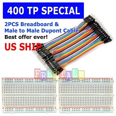2x 400 Point Solderless Prototype Breadboard Protoboard40 Dupont 10cm M-m Wires
