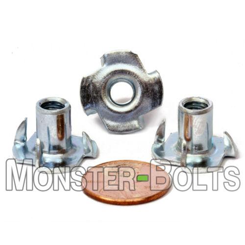 "3/8-16 x 7/16"" OAL - Qty 100 - 4 Prong Tee Nut Straight Barrel Zinc Plated T-Nut"