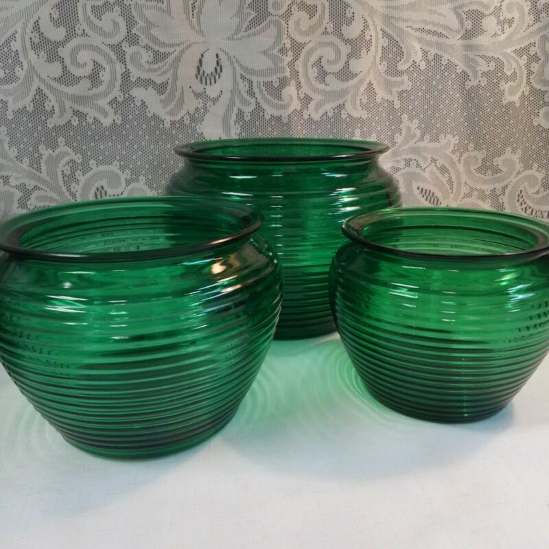 Vintage Green Depression Glass Ribbed Bowl Planters National Potteries Glass