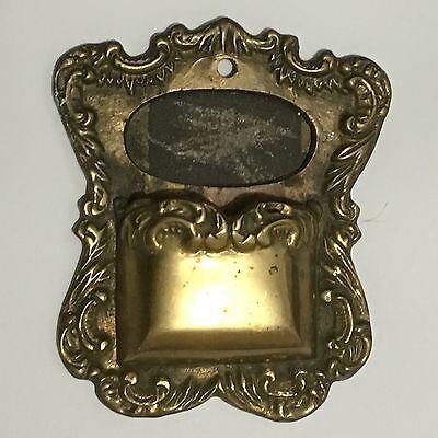 Vintage Wall Pocket Match Holder & Striker Brass Replaceable Sandpaper Strike
