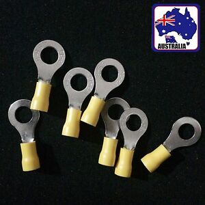 100x Yellow Ring Insulated Crimp Connector Wiring Terminals 8mm TTURV5803x100