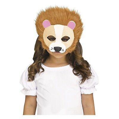 Furry Felt Lion Safari Animal Halloween Costume Half Mask Child Kids Family - Safari Animal Halloween Costume