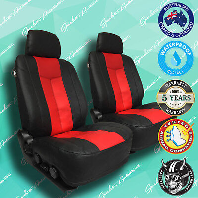 DAF TRUCK AUTOMATIC REDBLACK LEATHER CAR FRONT SEAT COVERS VINYL ALL OVER SEAT