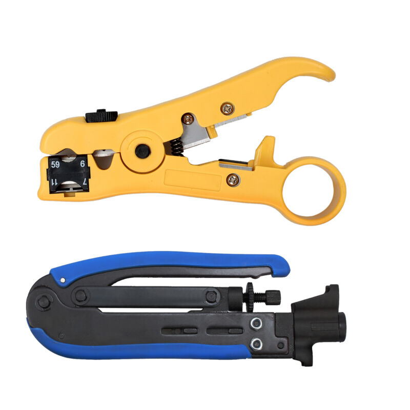 Connector TV Coaxial Cable Stripper Crimper Compression Tool