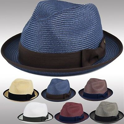 Mens Summer Fedora Hat Poly Braid Bound Edge Crushable Porkpie Derby Hat -