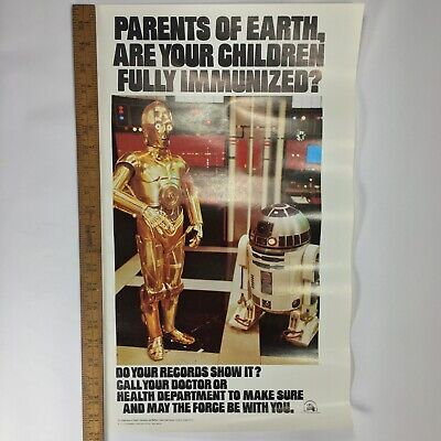 Original 1979 Star Wars C3PO & R2D2 Poster for Immunization, US Dept of Health