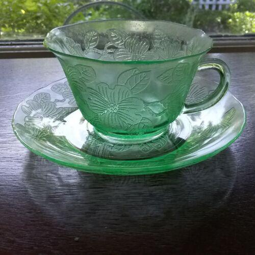 Macbeth Evans Dogwood Green Depression Glass Thin Cup & Saucer Set