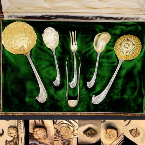 Antique French Sterling Silver Gilt Vermeil 6pc Dessert Serving Set