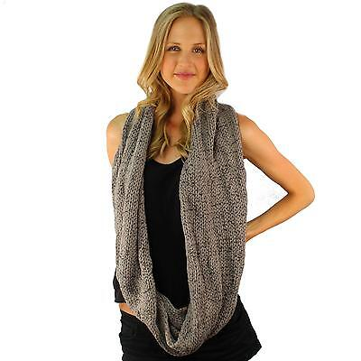 Men's Winter Chunky Soft Distressed Long Knit Circle Loop Infinity Scarf Gray