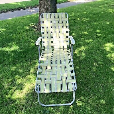 Vintage Aluminum Folding Lawn Chaise Mid Century Modern Lounge Chair Webbing Aluminum Modern Lounge Chairs