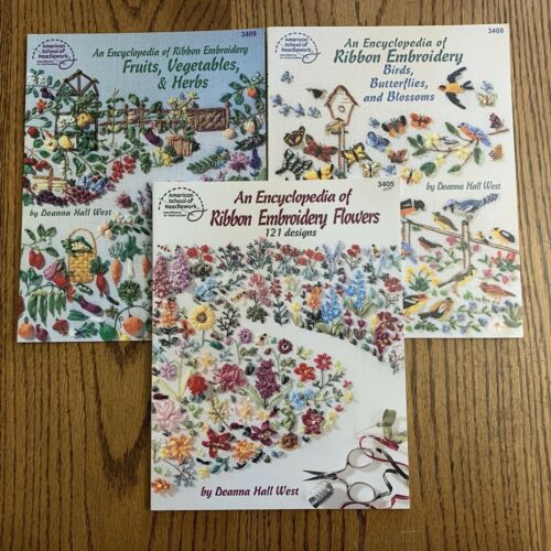 An Encyclopedia of Ribbon Embroidery Flowers Lot of 3 Books Deanna Hall West