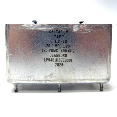 "DELTAFILM CAPACITOR ""LP"". LP112-3G. 26 MFD +/-2%. 180VRMS 400CPS. DEARBORN."
