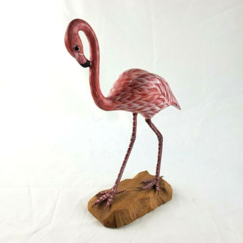 Pink Flamingo Wood Sculpture Figurine
