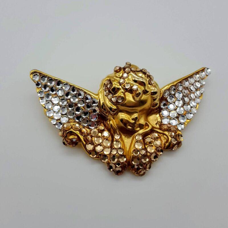 "GOLD TONE ANGEL CHERUB PENDANT BROOCH PIN 2"" X 3"""