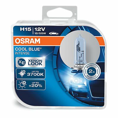 New! Osram H15 COOL BLUE INTENSE Bulbs (x2) +20% 3700K Xenon Look 64176CBI-HCB