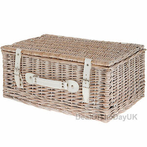 Empty Willow Hamper Wicker Picnic Basket White Wash Home Storage Display Case