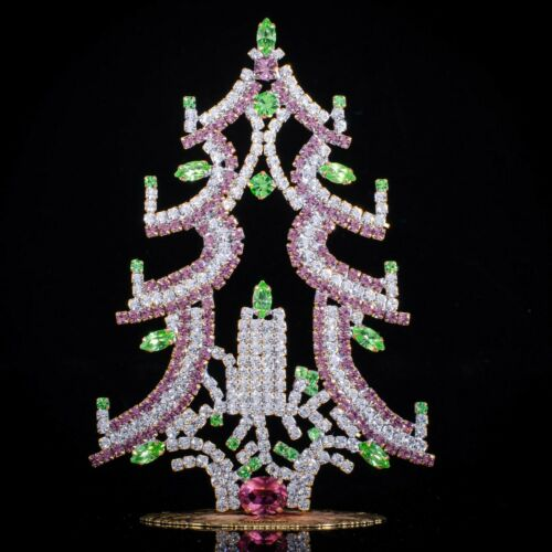 "Czech christmas tree - stand-up - rhinestone - 5.12"" x 3.35"""