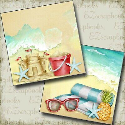 SANDCASTLES & SUNGLASSES NPM - 2 Premade Scrapbook Pages - EZ Layout (Sunglasses Layout)