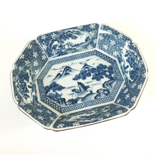 Vintage Blue & White Chinese Footed Octagonal Bowl, 10 in x 12 in x 2 3/4in