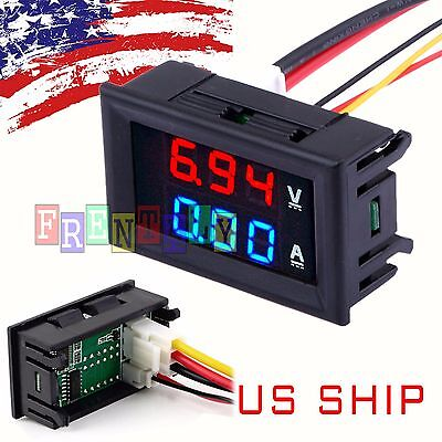 Mini Dc 100v 10a Digital Voltmeter Ammeter Blue Red Led Volt Amp Meter Gauge Us