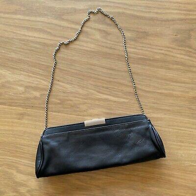 Vintage Prada Black Leather Shoulder Clutch Wallet Purse Black