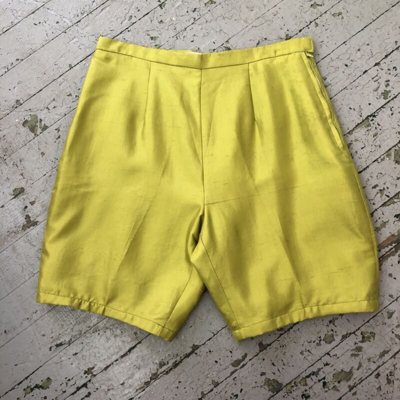 Vintage 1960's Chartreuse Green Silk High Waist Shorts By Jack Winter, Medium