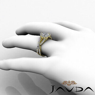 Cross Shank Halo Heart Cut Diamond Engagement Shared Prong Ring GIA I SI1 1.9Ct 10