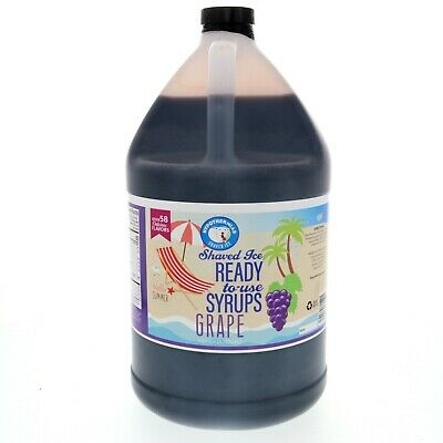 Snow Cone Or Hawaiian Shaved Ice Flavored Syrup Grape Gallon 128 Fl. Oz