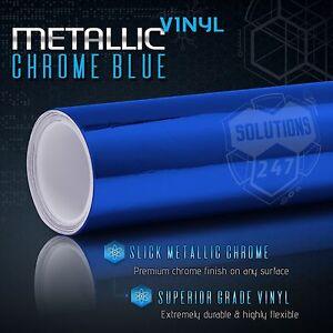Blue Chrome Mirror Vinyl Wrap Film Roll Sheet Decal Air Bubble Free 12