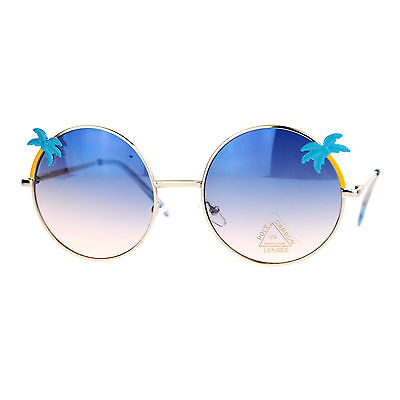 Palm Tree Sunglasses Round Circle Frame Womens Summer Shades