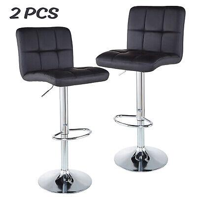Set of 2 Bar Stools Counter Adjustable Swivel PU Leather Pub Dinning Chair Black ()