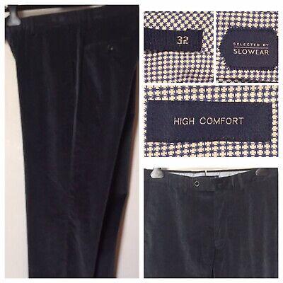 Incotex Men's Pants Corduroy Sz.32 Slowear High Comfort Gray/Blue Stretch Cotton
