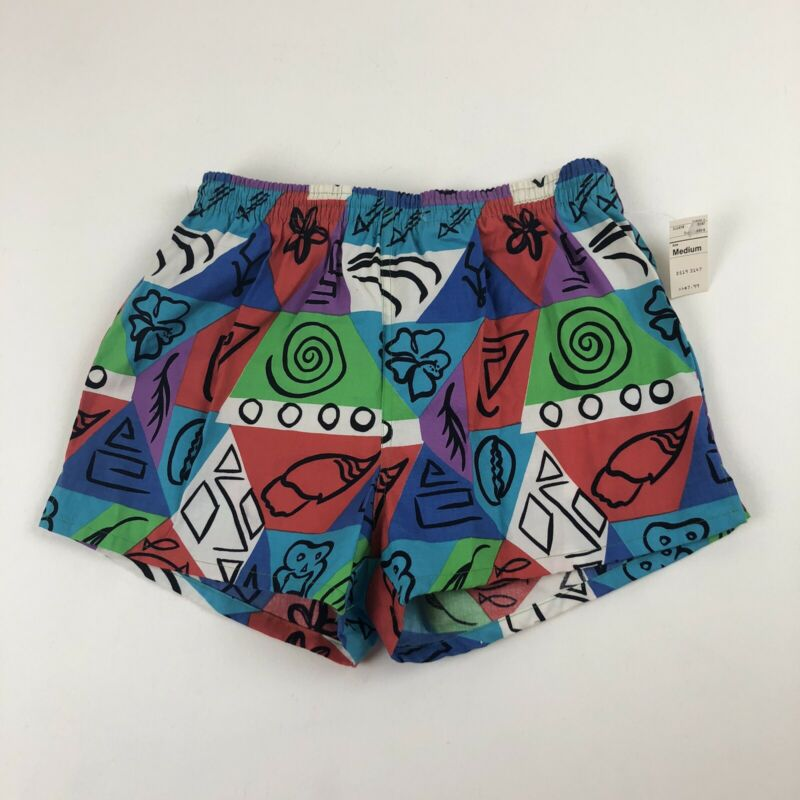 NOS Vtg 80s/90s Sunset Sportswear Lined Multicolor Swim Trunks Surf Shorts Sz M