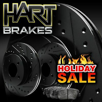 Fits Audi A5 Quattro, A4 Quattro Rear Black Drill Slot Brake Rotors+Ceramic Pads