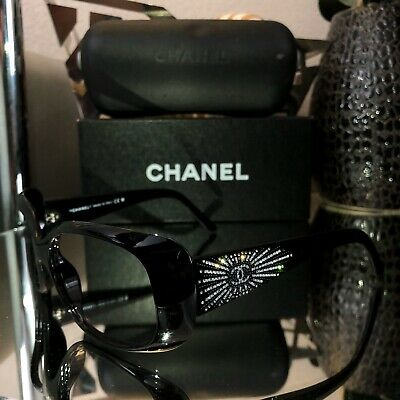 Chanel Swarovski Crystal Limited Edition Sunglasses Frames 6026-B Black (Swarovski Sunglasses)
