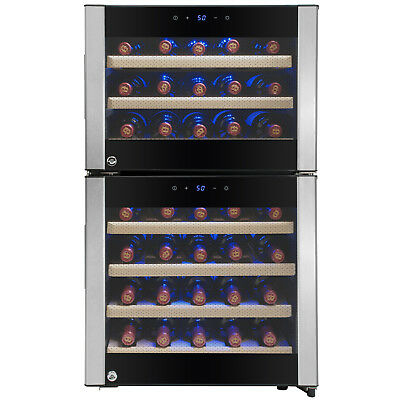 45 Bottle Dual Zone Freestanding Electric Wine Cooler w/ Built-in Compressor